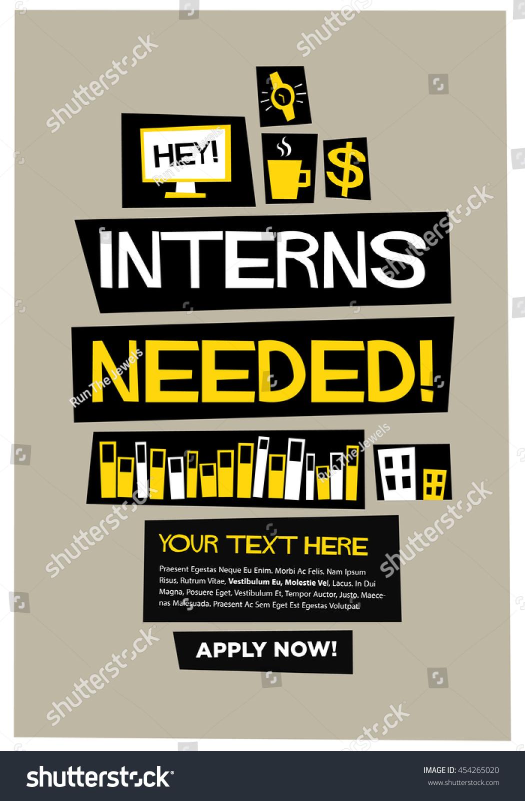 interns needed flat style vector illustration stock vector, Presentation templates
