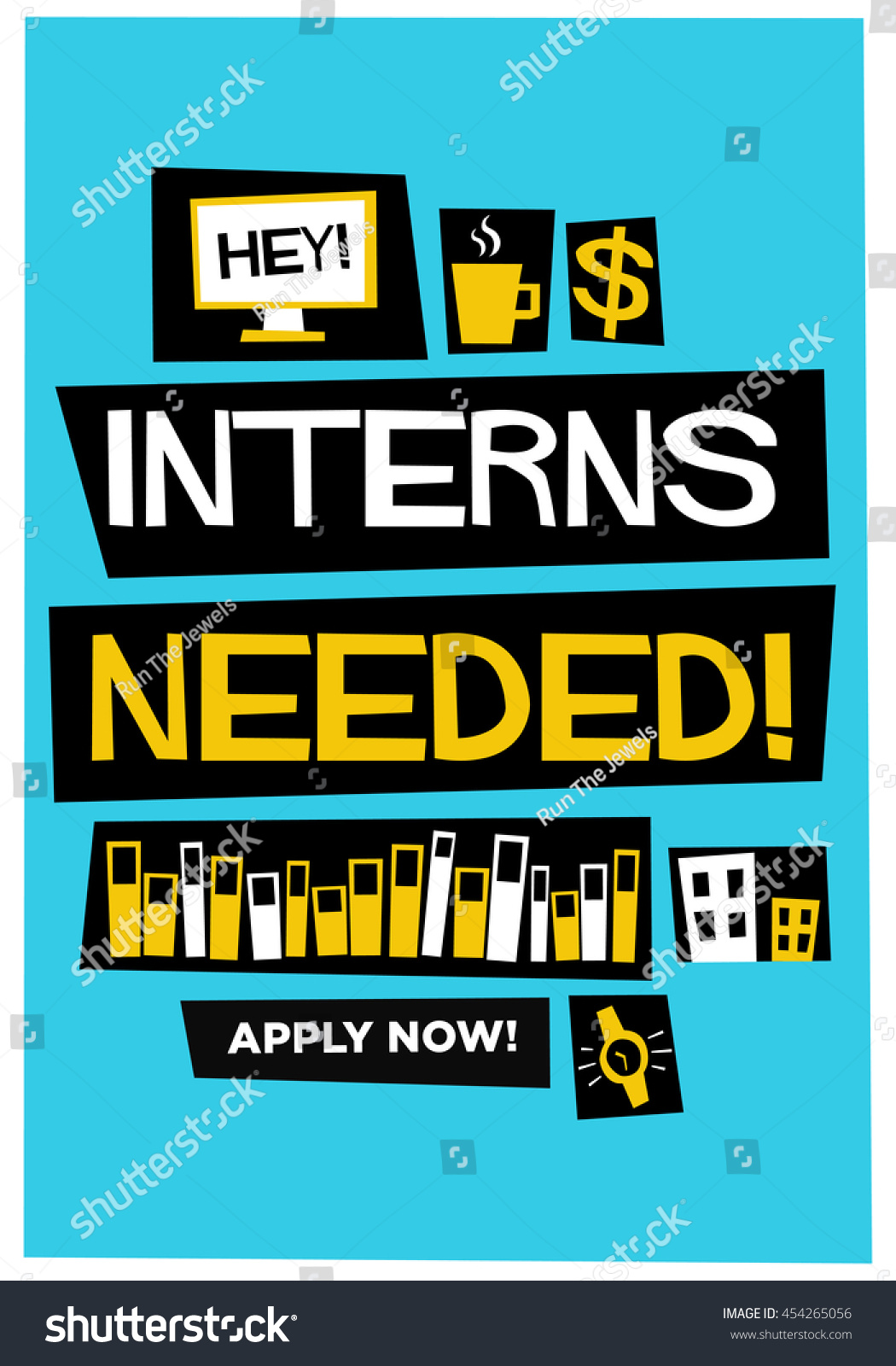Poster design needed - Interns Needed Flat Style Vector Illustration Recruitment Poster Design
