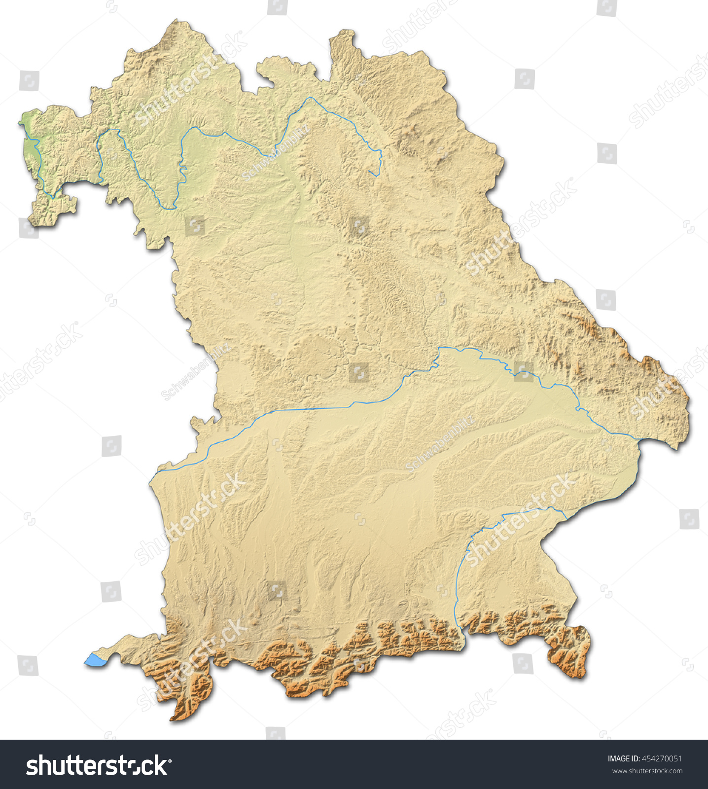 Relief map bavaria germany 3drendering stock illustration relief map bavaria germany 3d rendering sciox Image collections