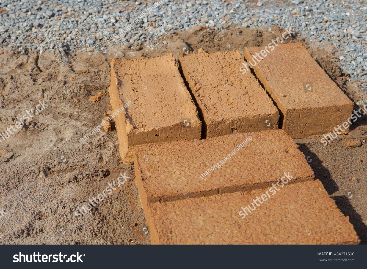 Bricks made clay soil build houses stock photo 454271590 for What is dirt composed of