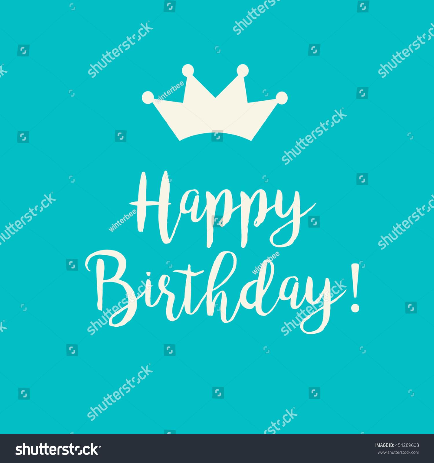 Cute Happy Birthday Card Handwritten Text Stock