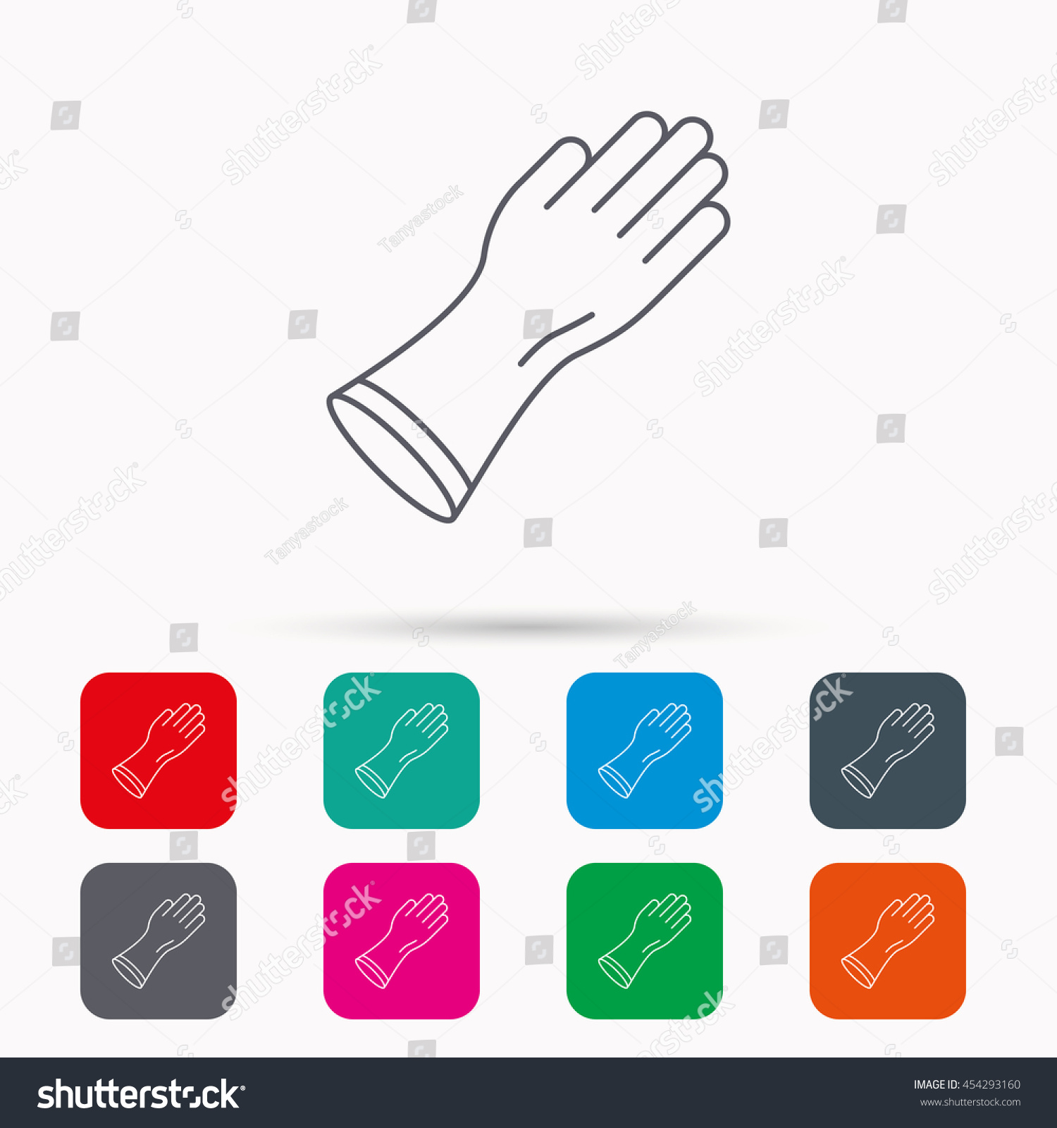 Rubber gloves icon latex hand protection stock vector 454293160 latex hand protection sign housework cleaning equipment symbol linear icons biocorpaavc