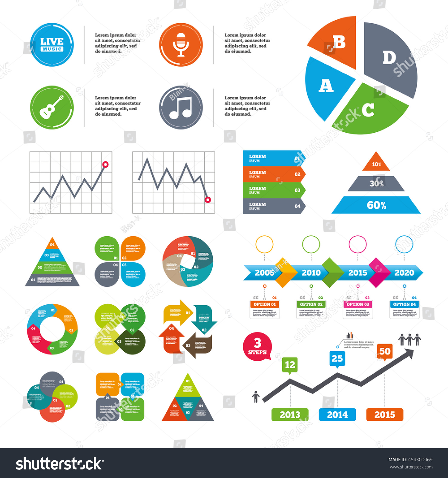 Data pie chart and graphs. Musical elements icons. Microphone and Live  music symbols.