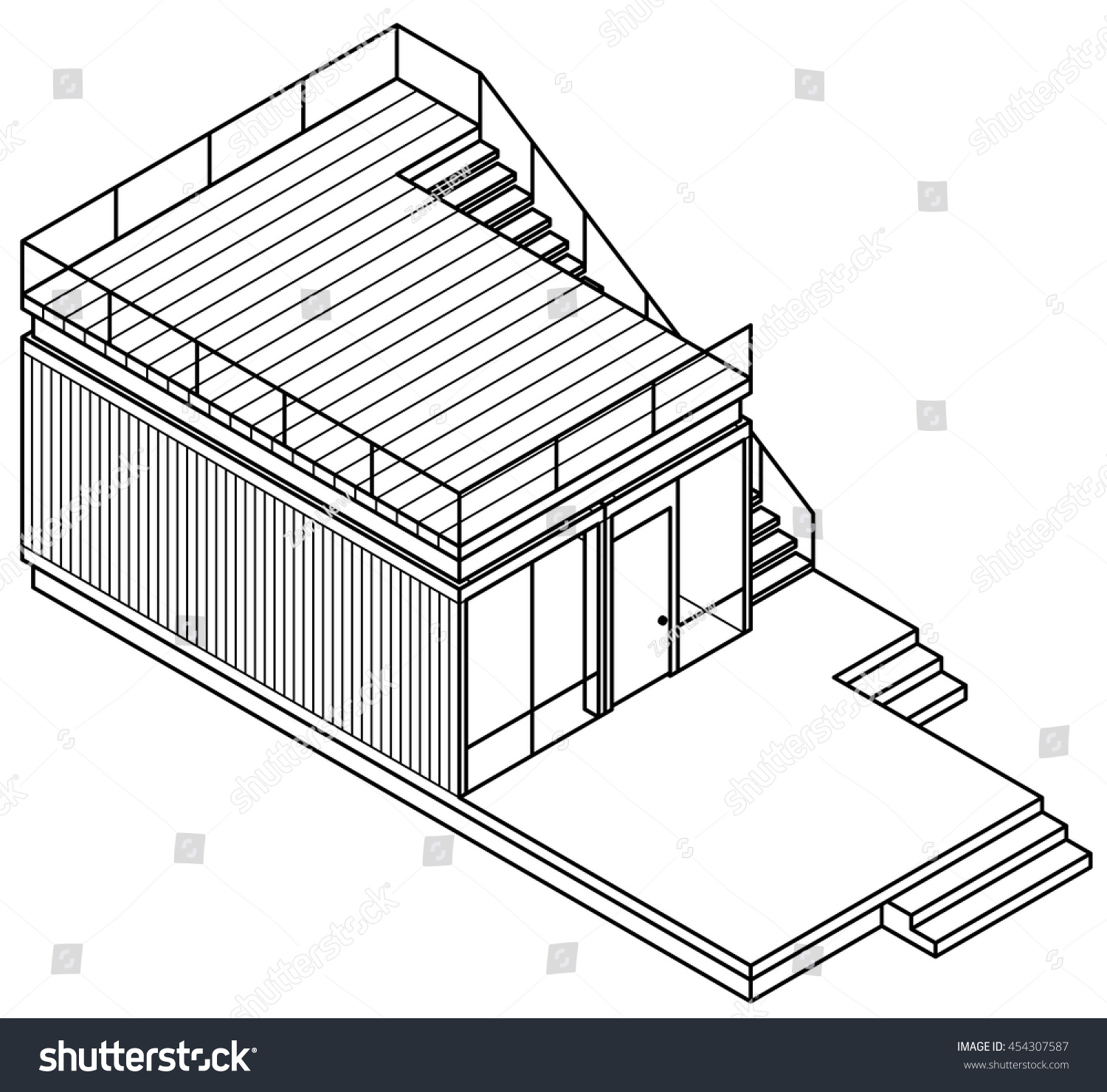 Lineart drawing housebuilding made out shipping stock vector 454307587 shutterstock - Shipping container home plans and drawings ...