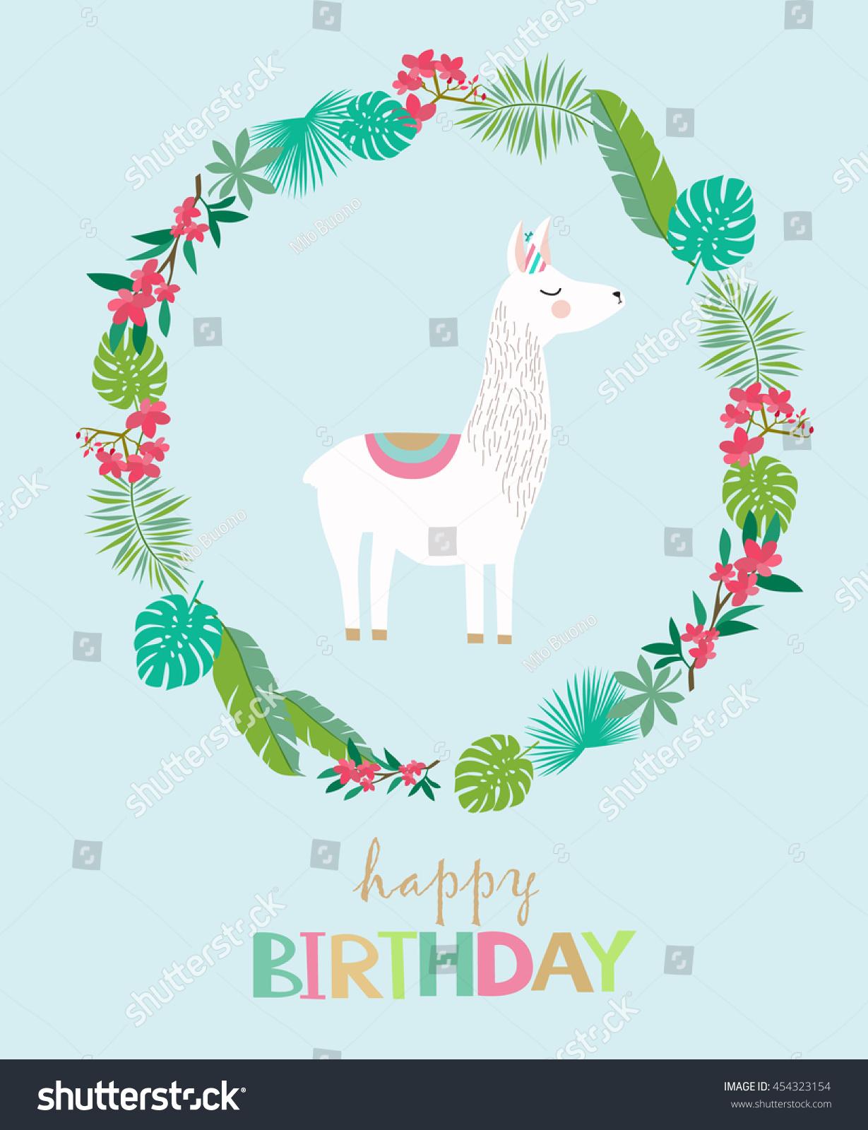Happy Birthday Card Cute Lama Image Vectorielle De Stock Libre De