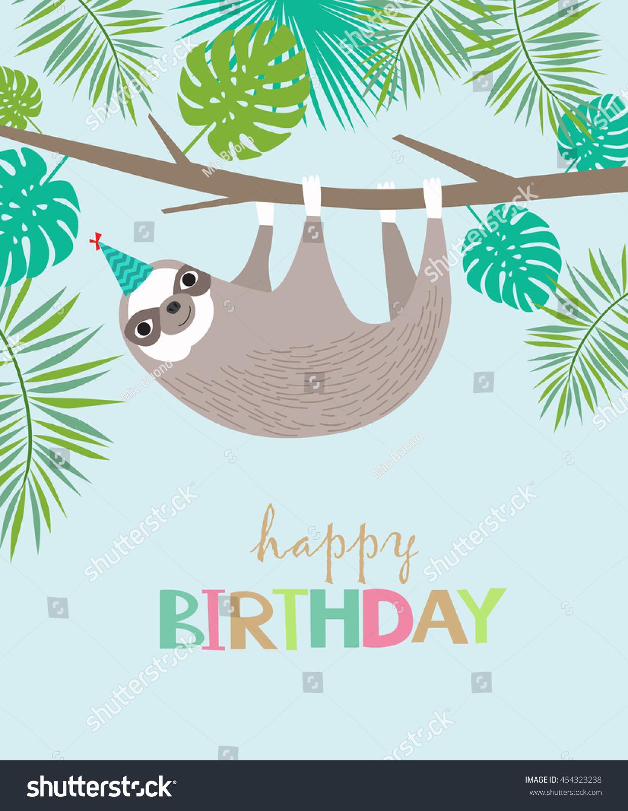 happy birthday card cute sloth stock vector   shutterstock, Birthday card