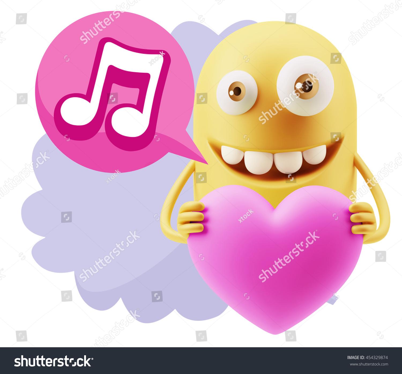 3 D Rendering Emoji Saying Music Symbol Stock Illustration 454329874