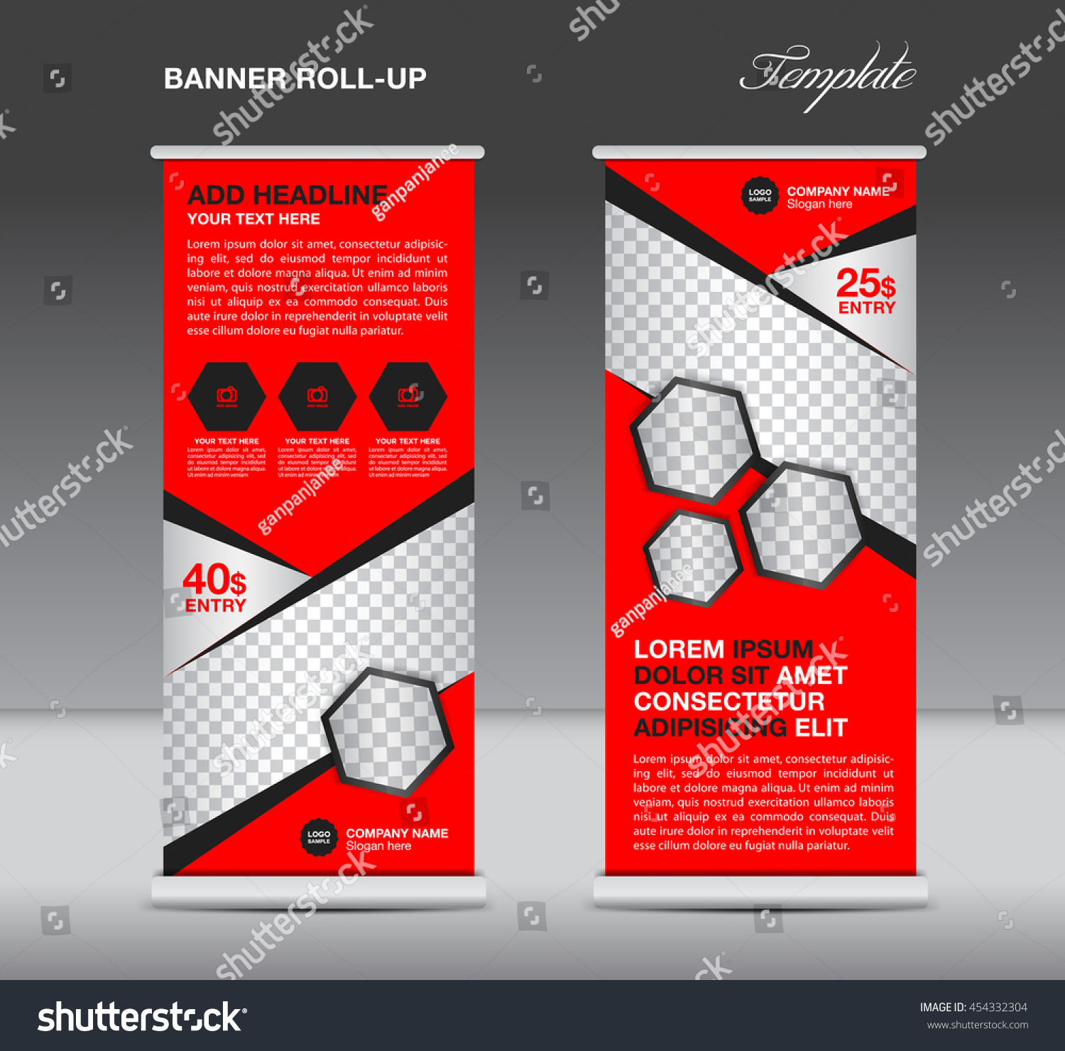 red roll banner stand template advertisement stock vector red roll up banner stand template advertisement flyer design vector for business