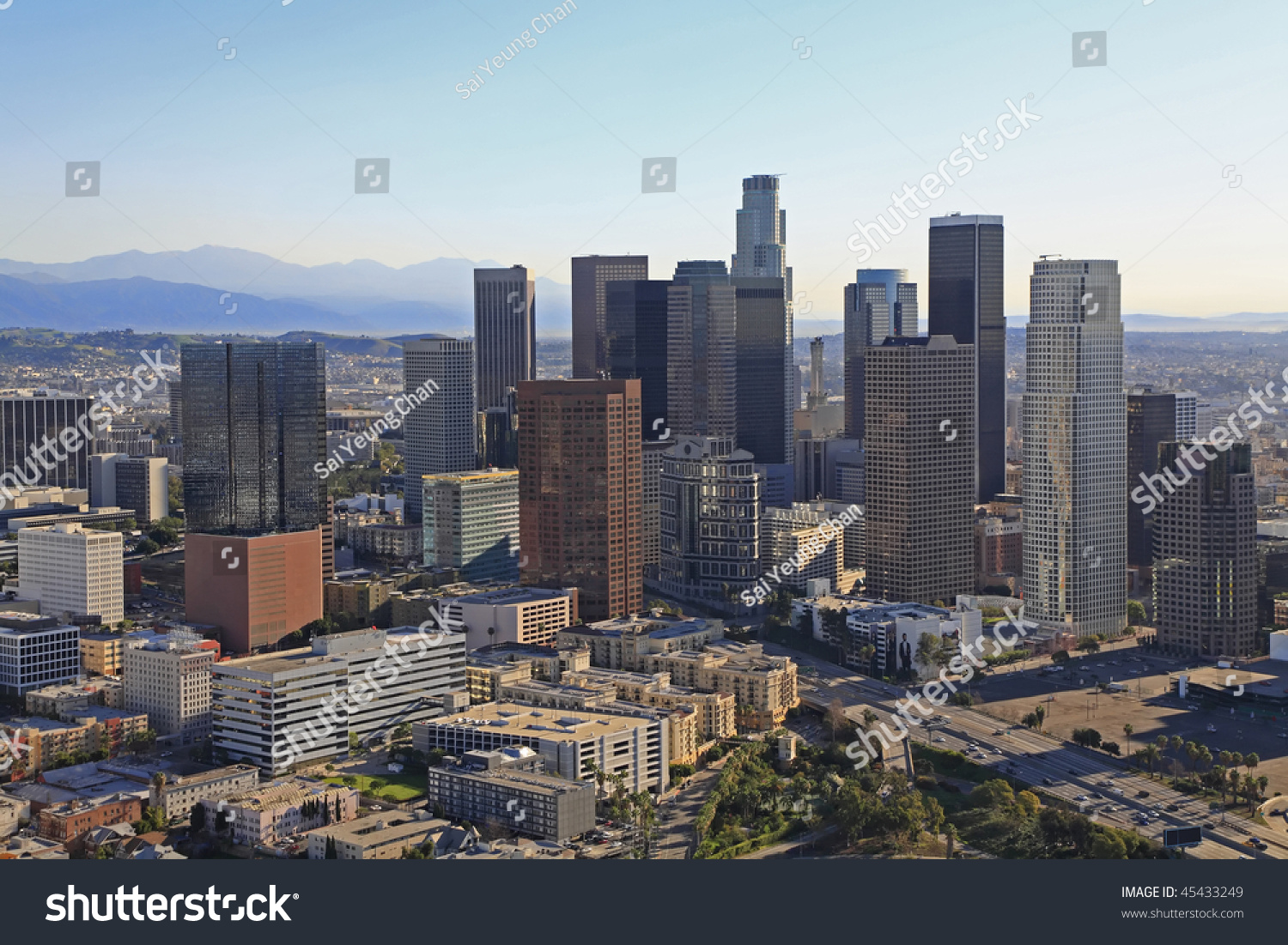 Aerial panoramic stitch downtown los angeles california usa stock photo 4543 - Panoramic les angles ...