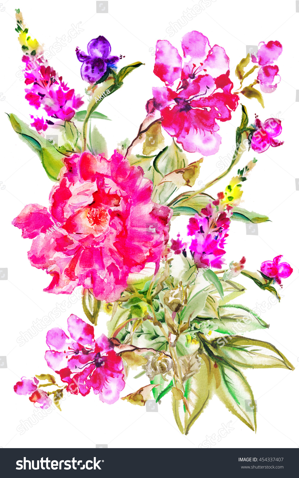 Flower Watercolor Background Floral Illustration Exotic Stock