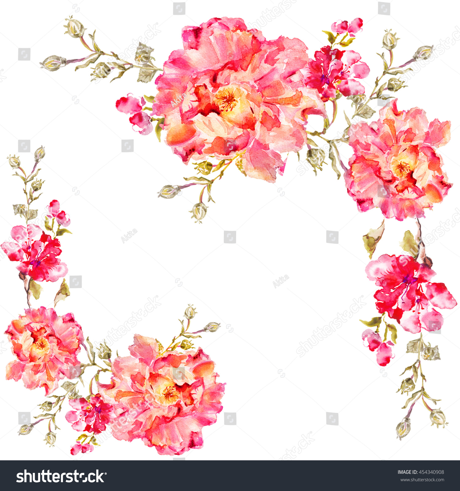 Flower Watercolor Background Floral Illustration Bouquet Stock