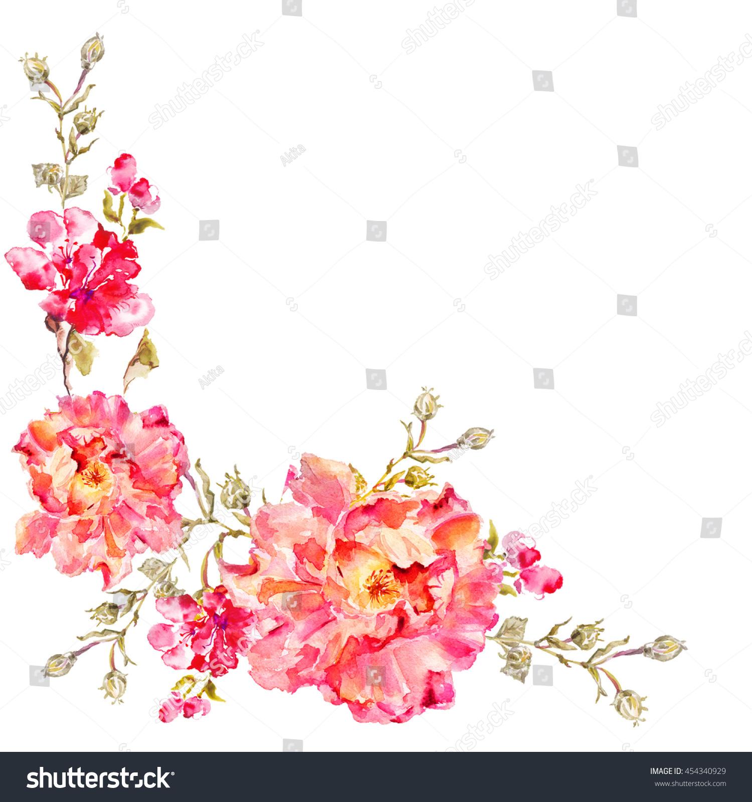 Flower Watercolor Background Floral Illustration Bouquet Stock
