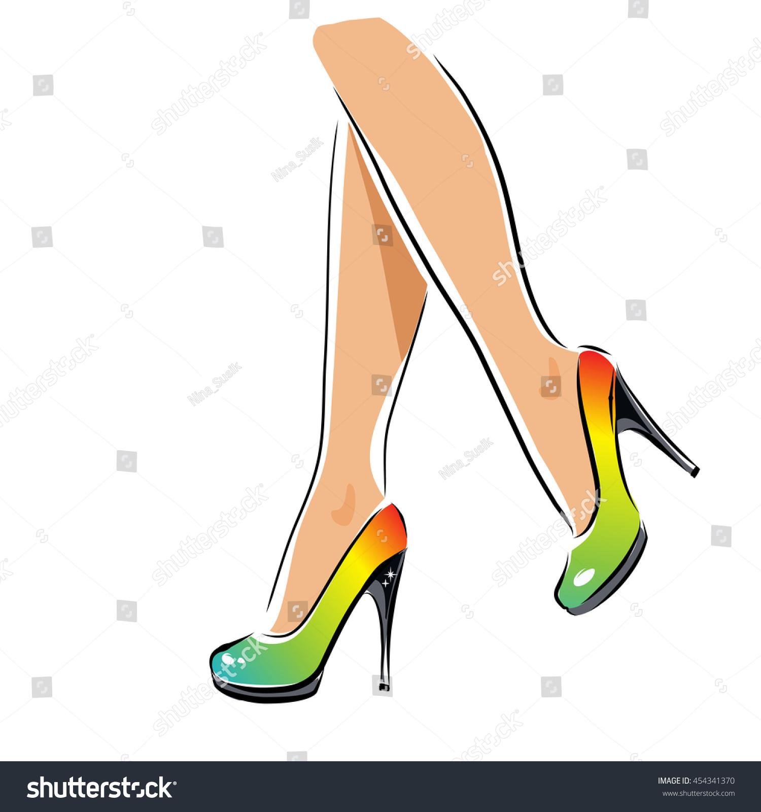 vector sexy legs highheeled rainbow shoes stock vector