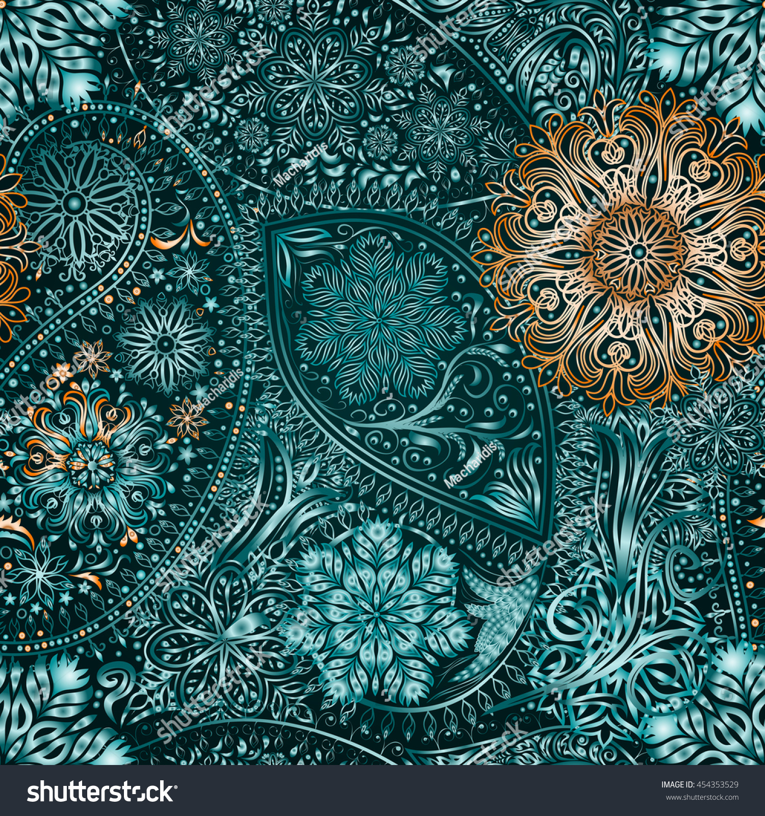 paisley vintage floral motif ethnic seamless background abstract lace pattern hand drawing. Black Bedroom Furniture Sets. Home Design Ideas