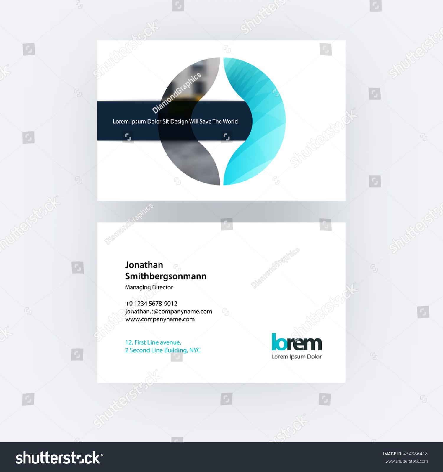 vector business card template circle geometric stock vector