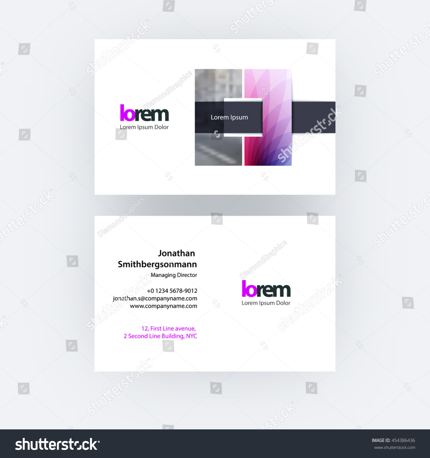 Vector Business Card Template Square Geometric Stock Vector ...