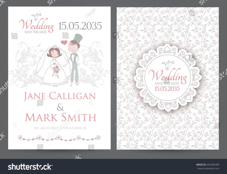 vintage wedding invitation template with groom bride and elegant vignettes elegant cartoon flourish design - Vintage Wedding Invitation Templates