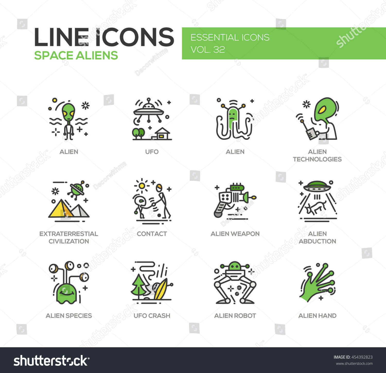 Space Aliens modern vector line design icons and pictograms set UFO technologies extraterrestial civilization contact weapon alien abduction species crash robot hand