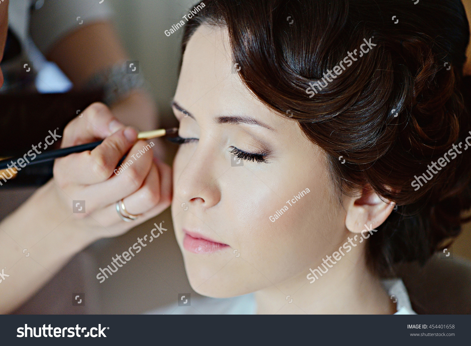 Wedding Makeup Artist Making Make Bride Stock Photo Edit Now
