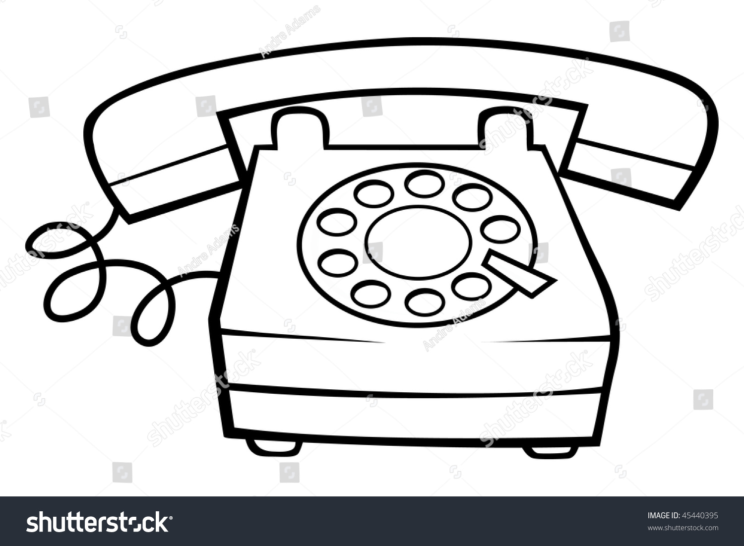 cartoon vector outline illustration telephone ringing stock vector
