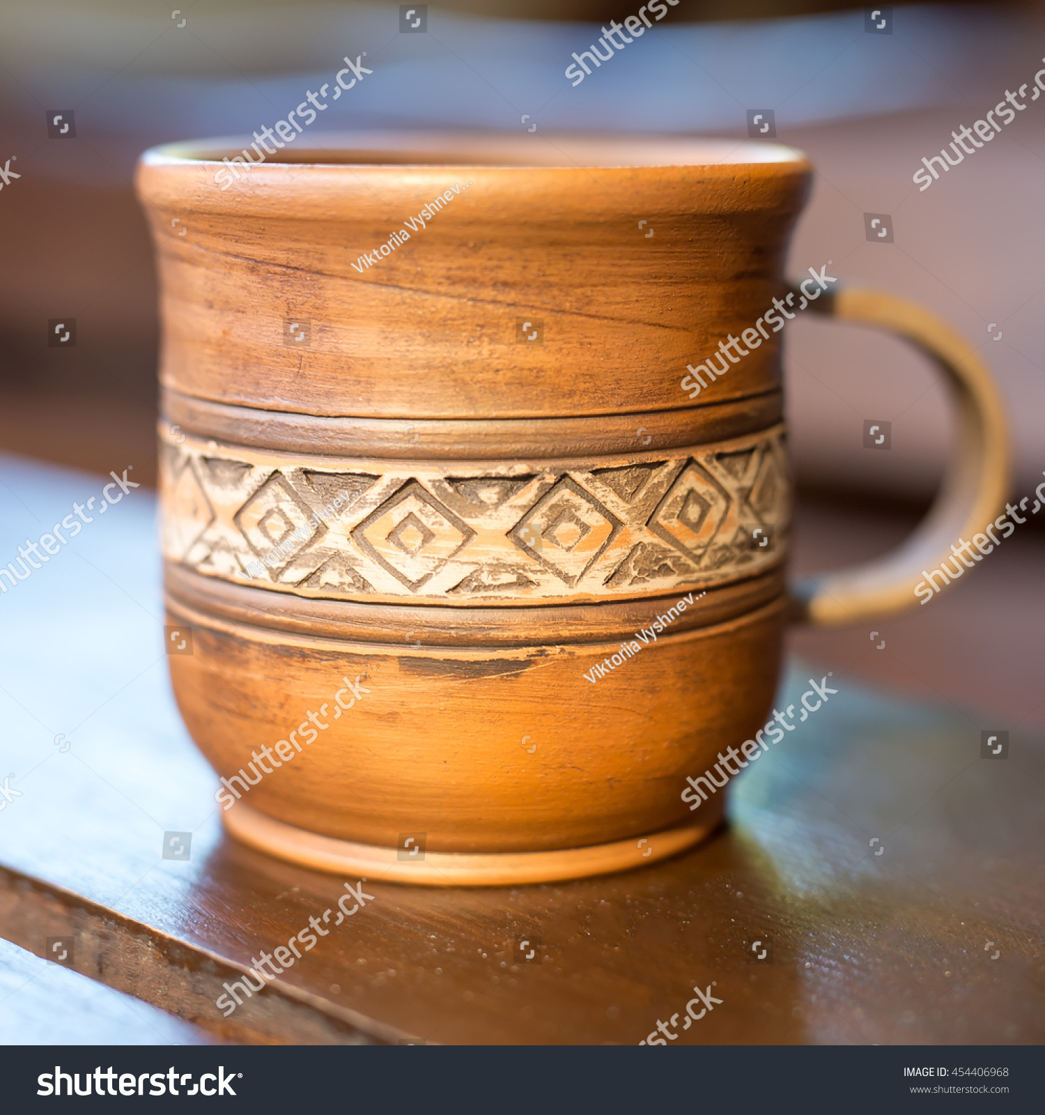 Cup Red Clay Ukrainian National Ornament Stock Photo Edit Now 454406968
