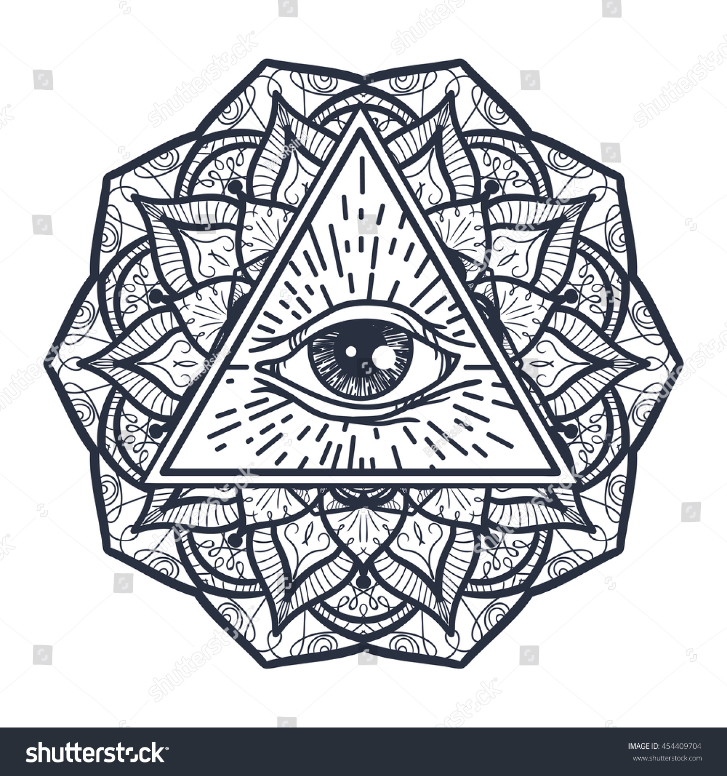 e7d0eb55c1ffc Vintage All Seeing Eye in Triangle and Mandala. Providence magic symbol for  print, tattoo.