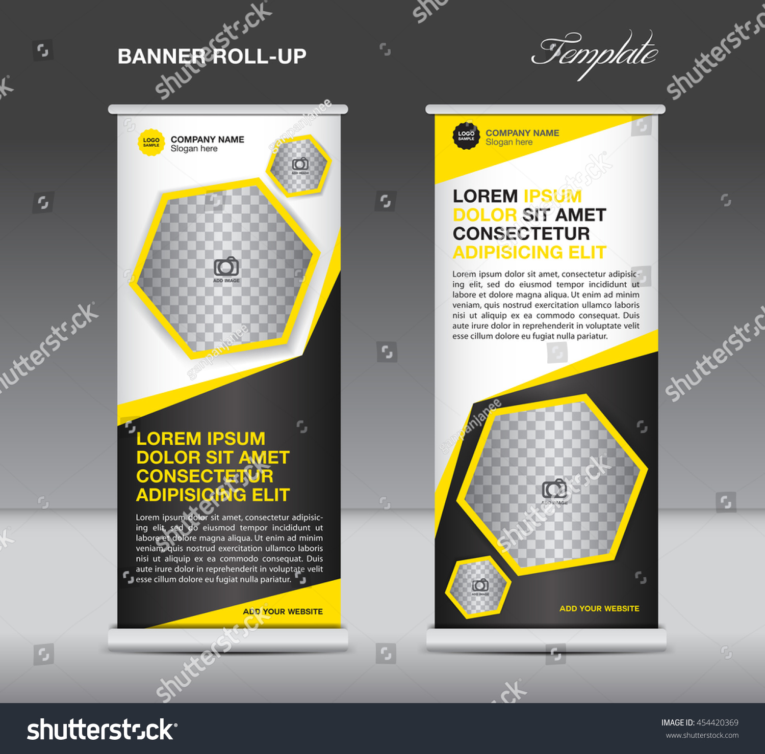 yellow and black roll up banner template stand display yellow and black roll up banner template stand display advertisement flyer design polygon vector
