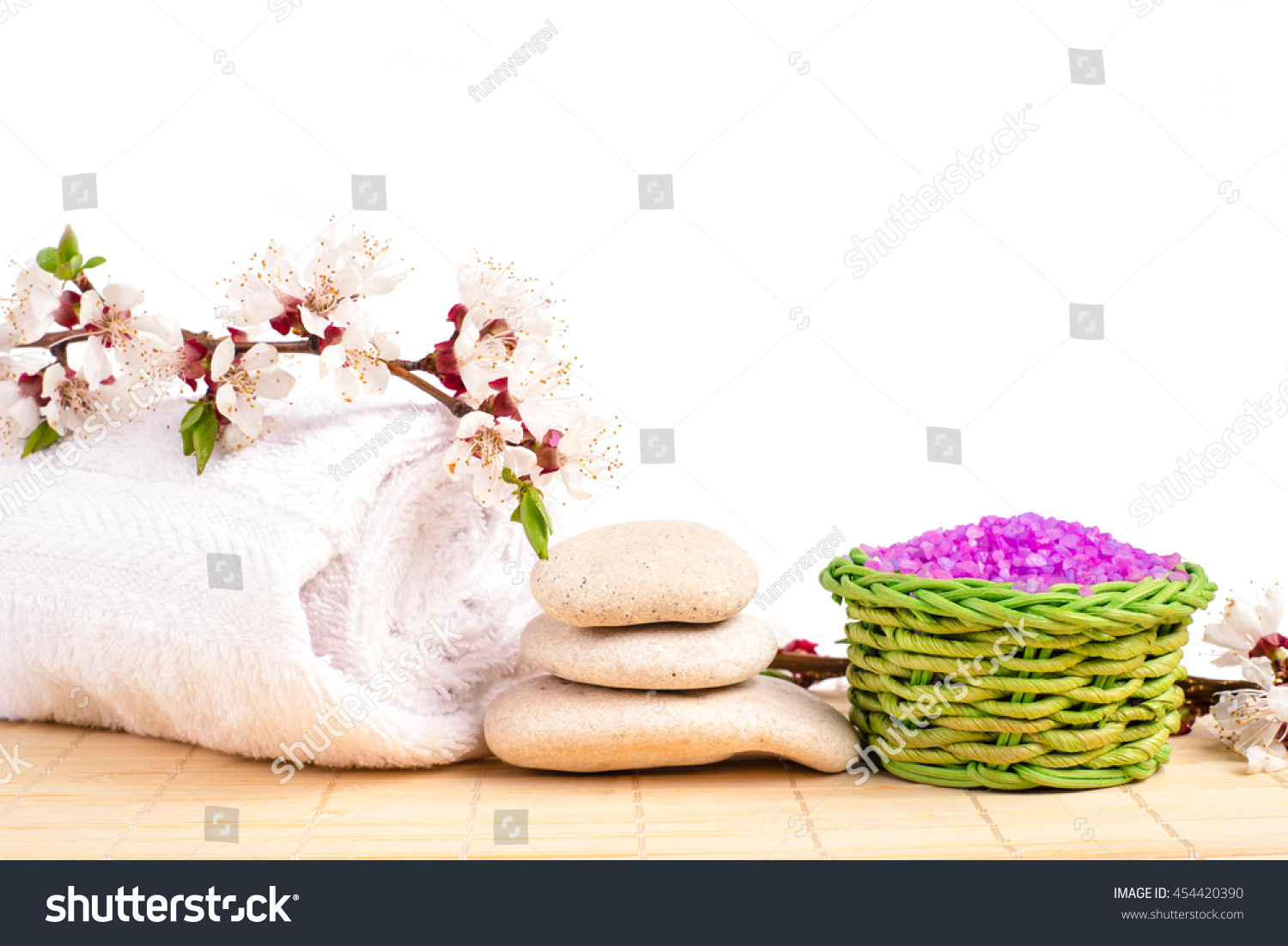 Spa salt stones towel flower branch stock photo edit now 454420390 spa salt and stones towel flower branch for beauty and health healthy relaxation izmirmasajfo