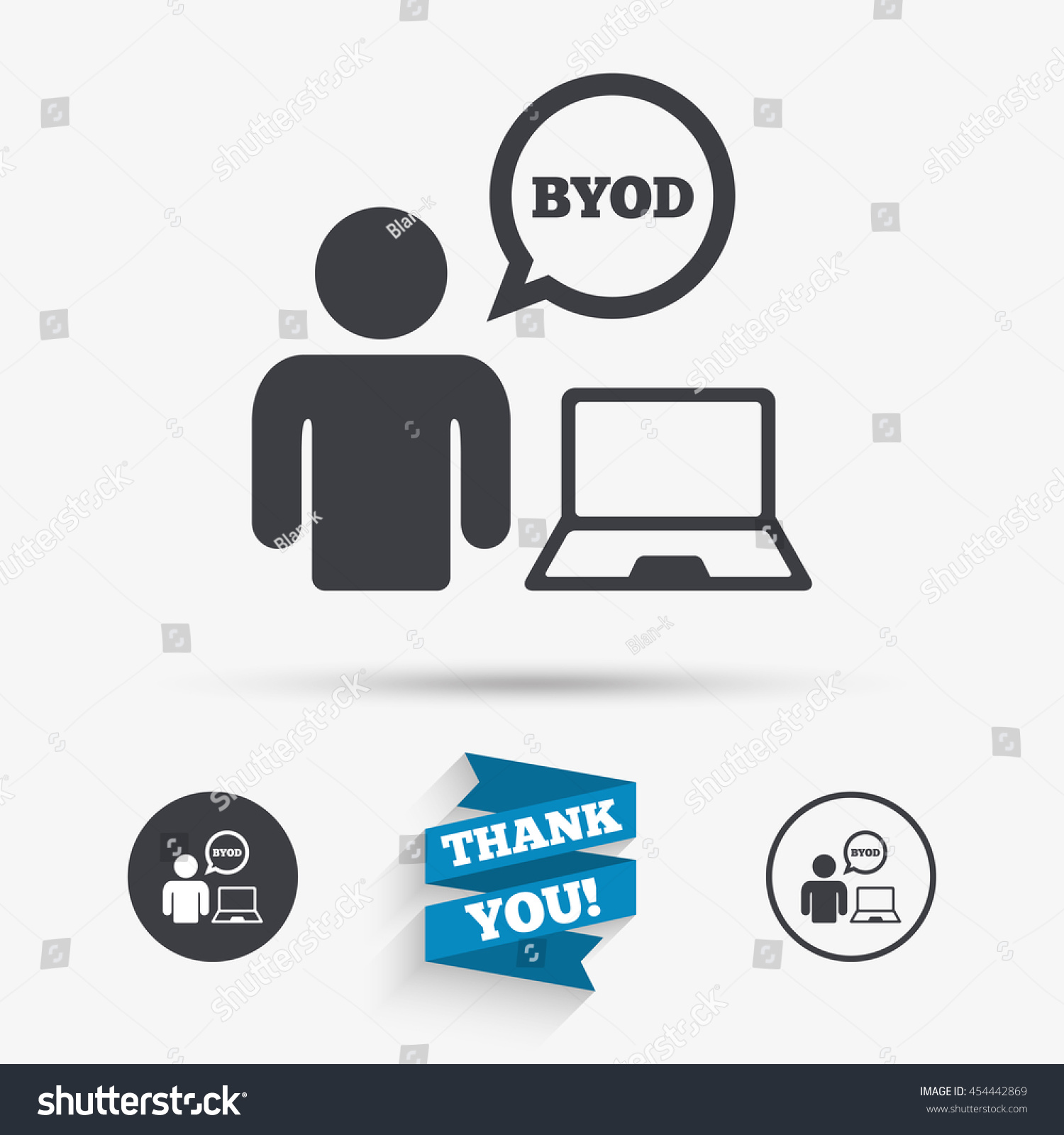 Byod sign icon bring your own stock vector 454442869 shutterstock bring your own device symbol user with laptop and speech bubble biocorpaavc Gallery