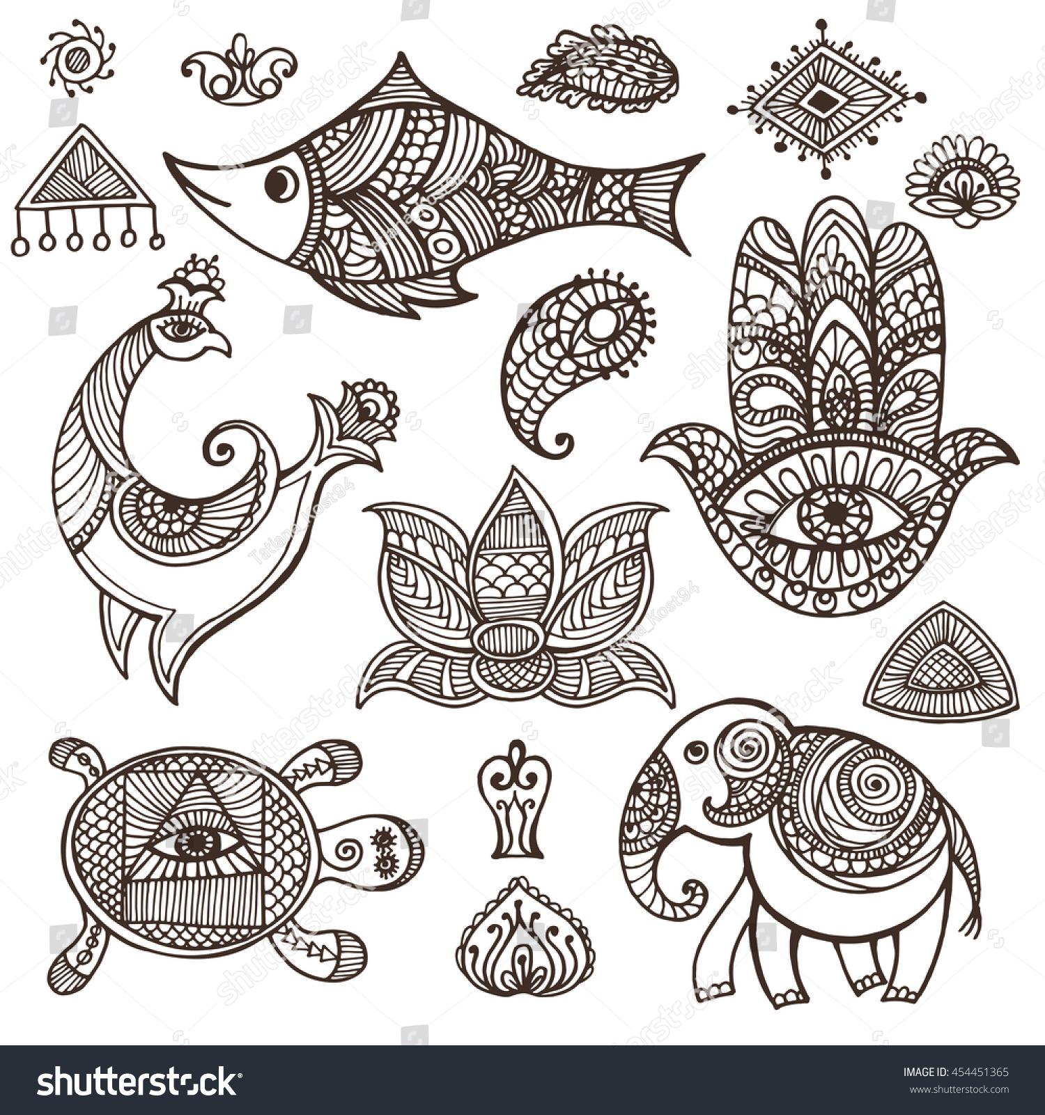 Indian Mehndi Decor Elementssymbols Animalfloral ...