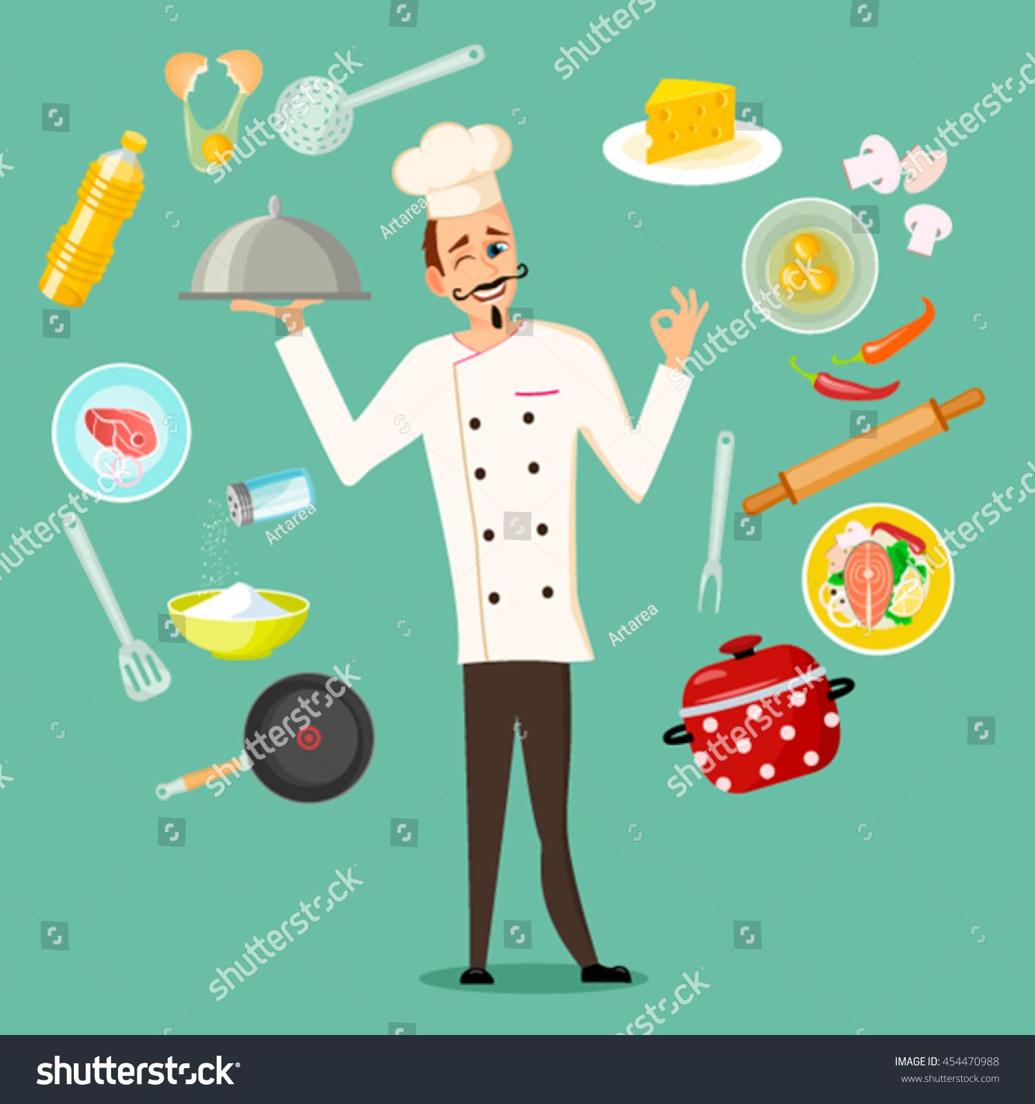 Set Kitchen Utensils Kitchenware Equipment Food Stock Vector ...