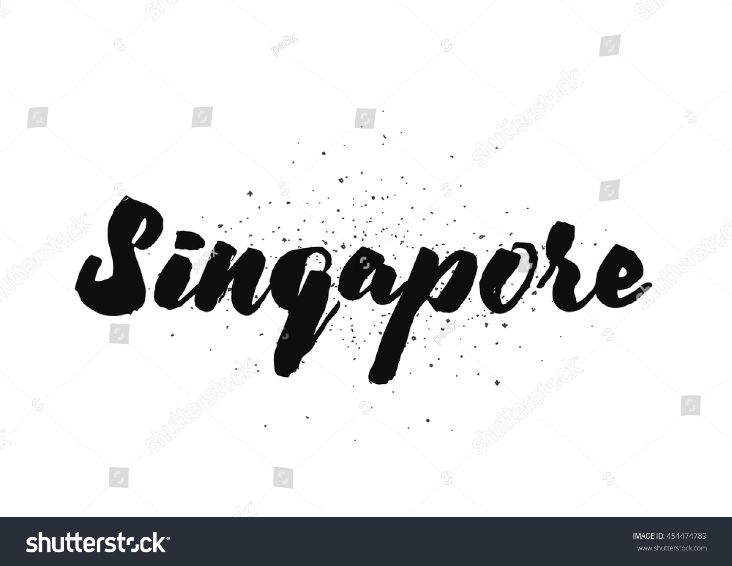 Singapore capital city typography lettering design stock