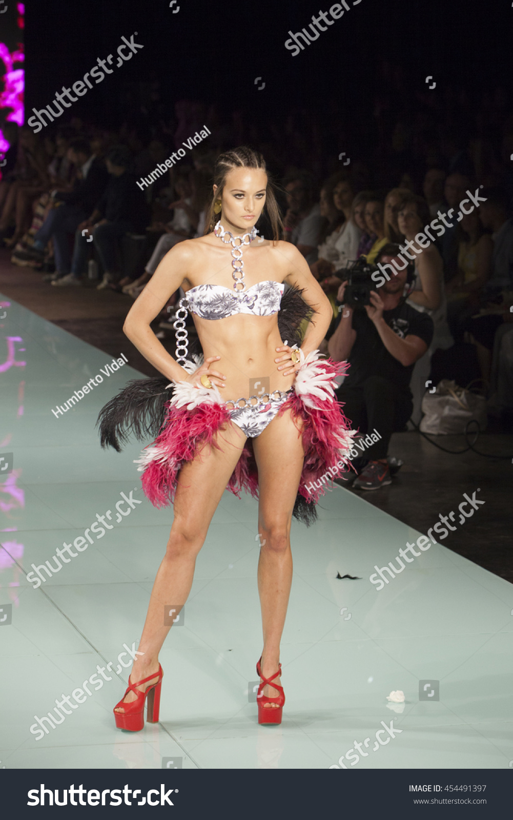 7c4774f454 Model walks the runway during for the Andres Sarda Fashion Show during  Miami Fashion Week at