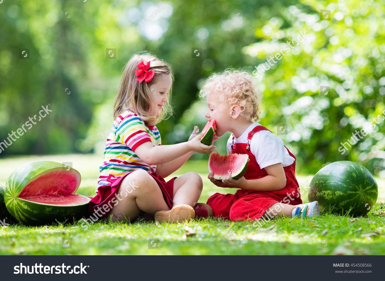 Child Eating Watermelon Garden Kids Eat Stock Photo -2754