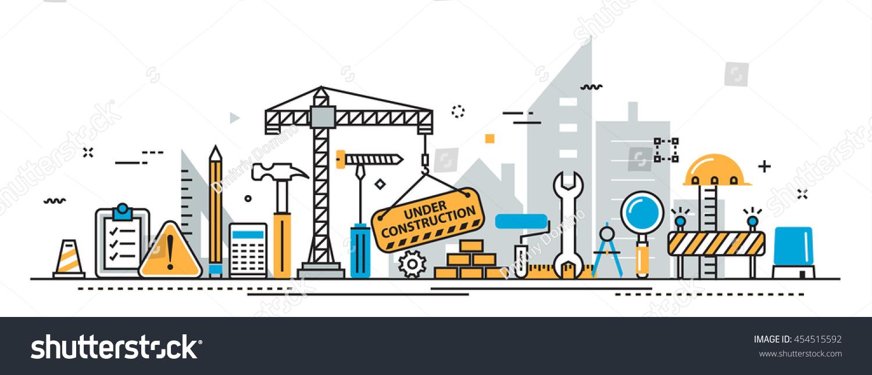 Flat line design concept under construction stock for House construction timeline
