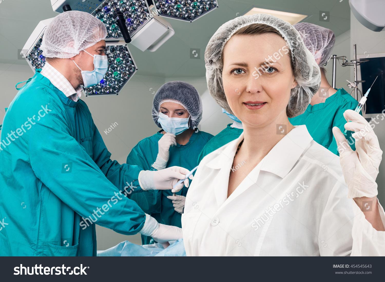 Anesthetist Syringe Surgery Teem Stock Photo Royalty Free