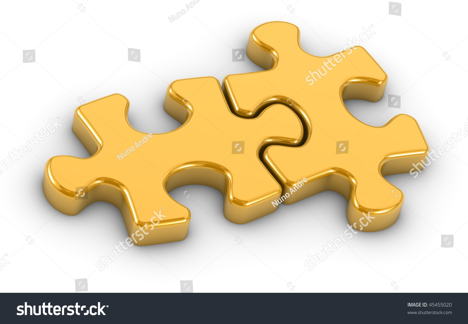 Two Golden Jigsaw Puzzle Pieces On A White Background Part Of Series