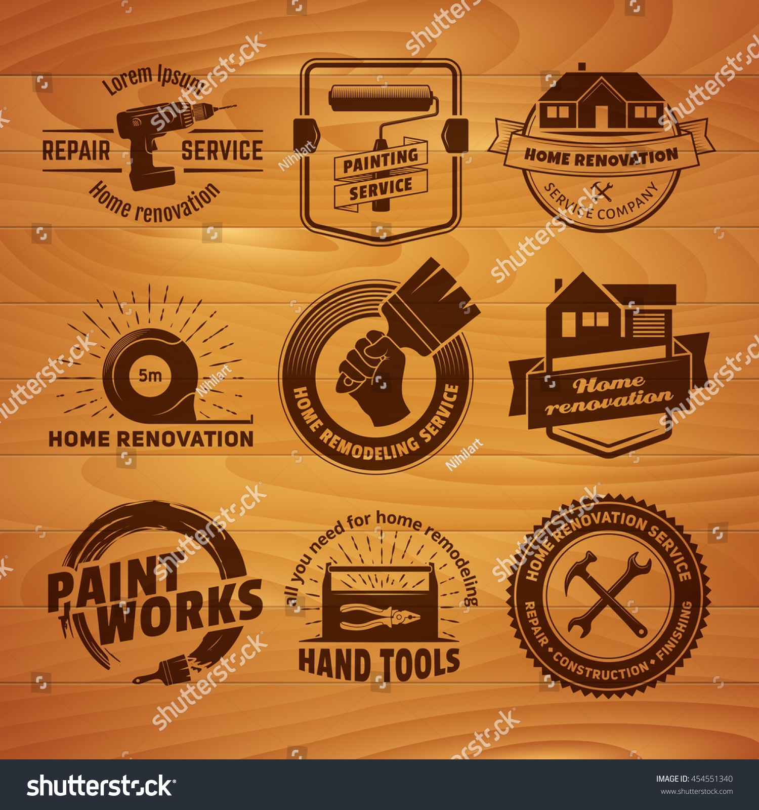 House Remodeling Logos Vector Labels Home Stock Vector