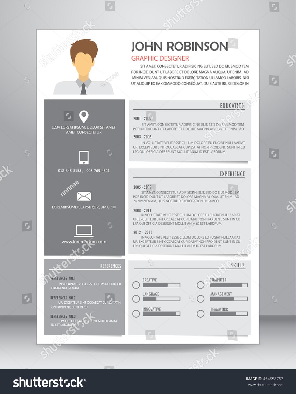 Job Resume Cv Layout Template A4 Stock Vector 454558753 - Shutterstock