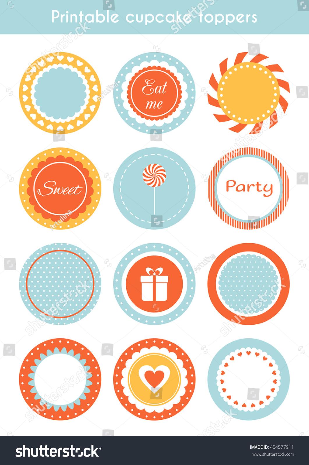 vector set printable tags circle cupcake stock vector 454577911