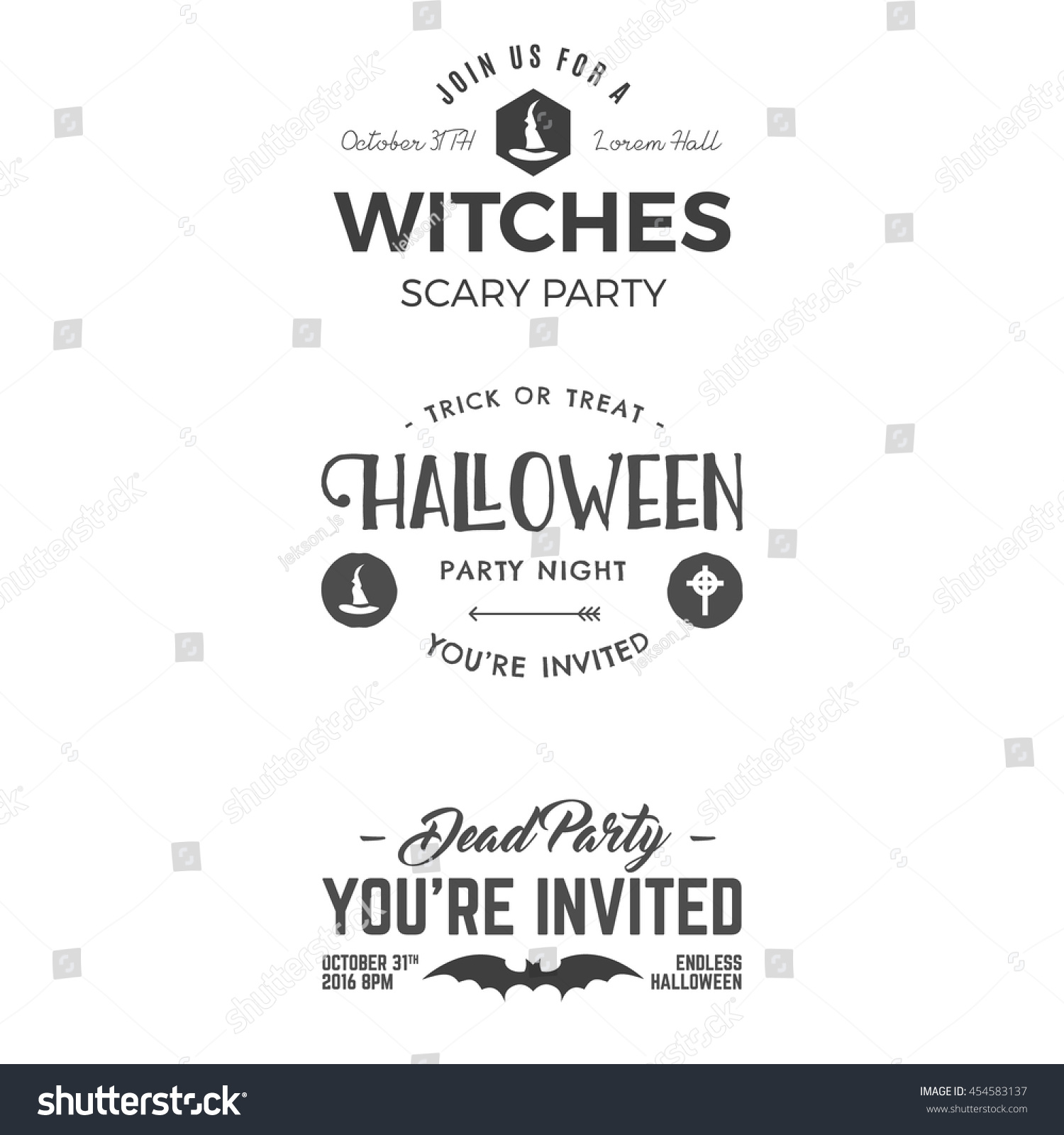 Halloween 2016 Party Invitation Label Templates Stock Vector