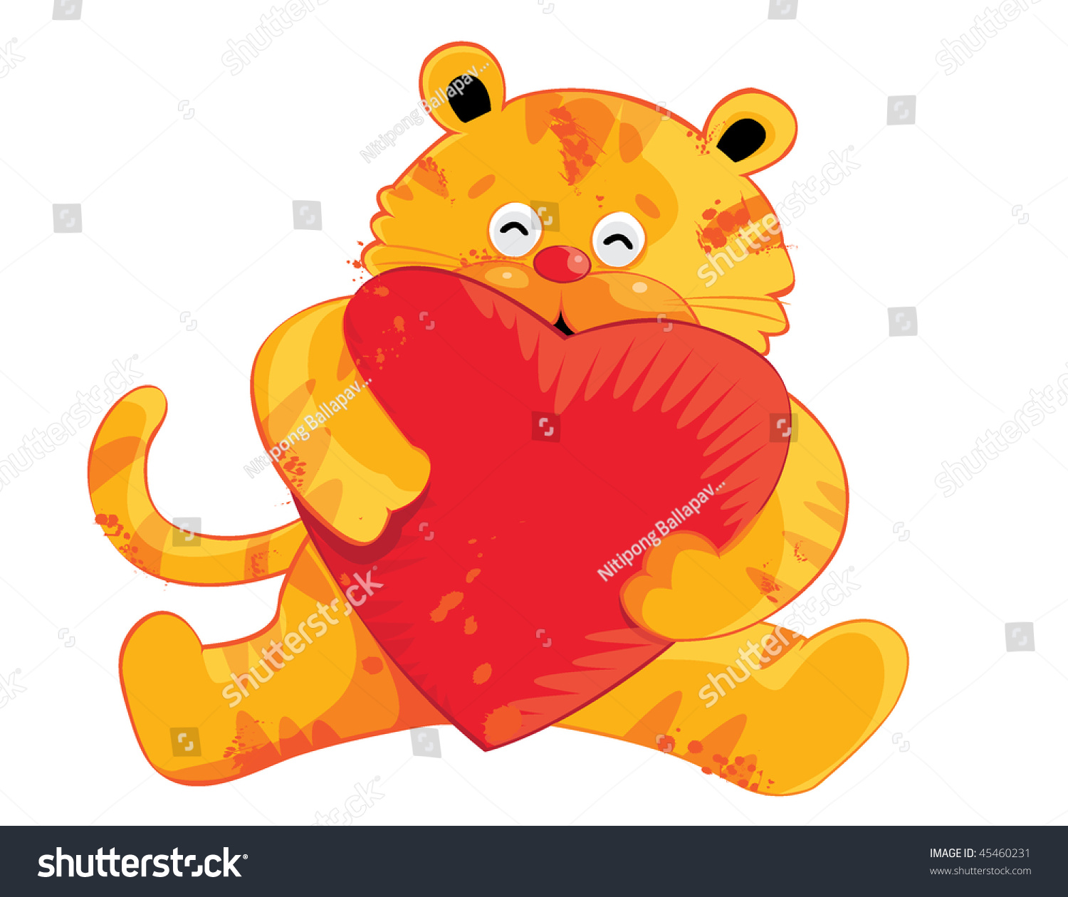 Cartoon Characters Valentines Day : Cute tiger cartoon characters for valentine day stock