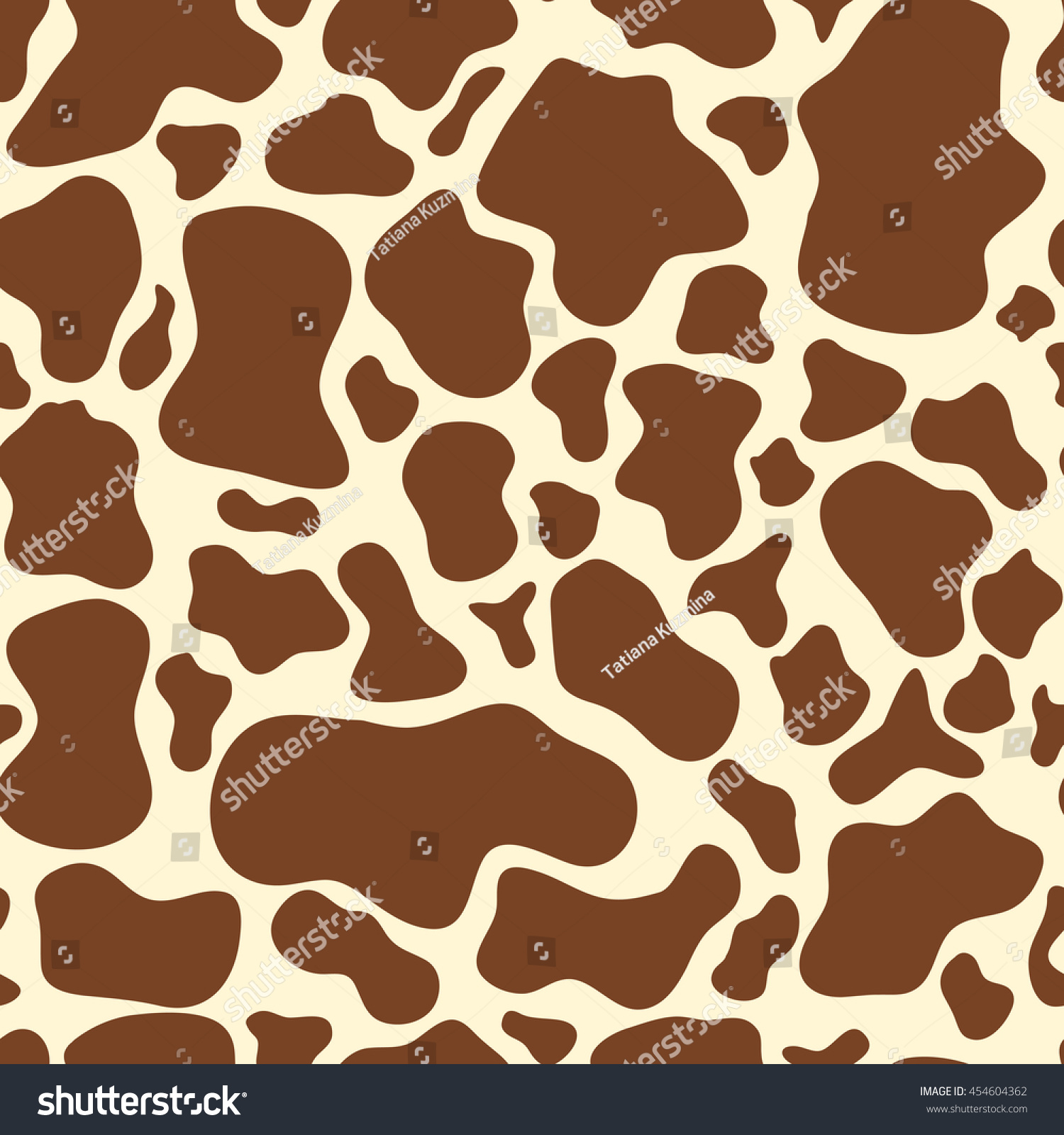 Seamless Brown Cow Spots Pattern On Stock Vector Royalty Free