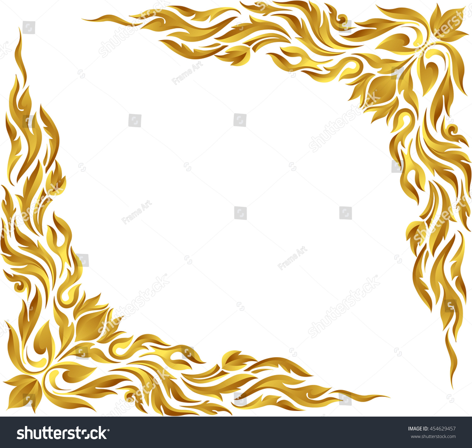Corner Gold Vintage Baroque Frame Scroll Stock Vector 454629457