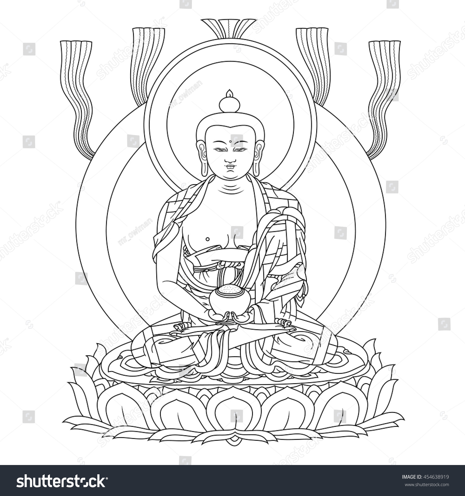 Vector illustration buddha amitabha meditation symbol stock vector vector illustration with buddha amitabha in meditation a symbol of the tibetan buddhism black buycottarizona