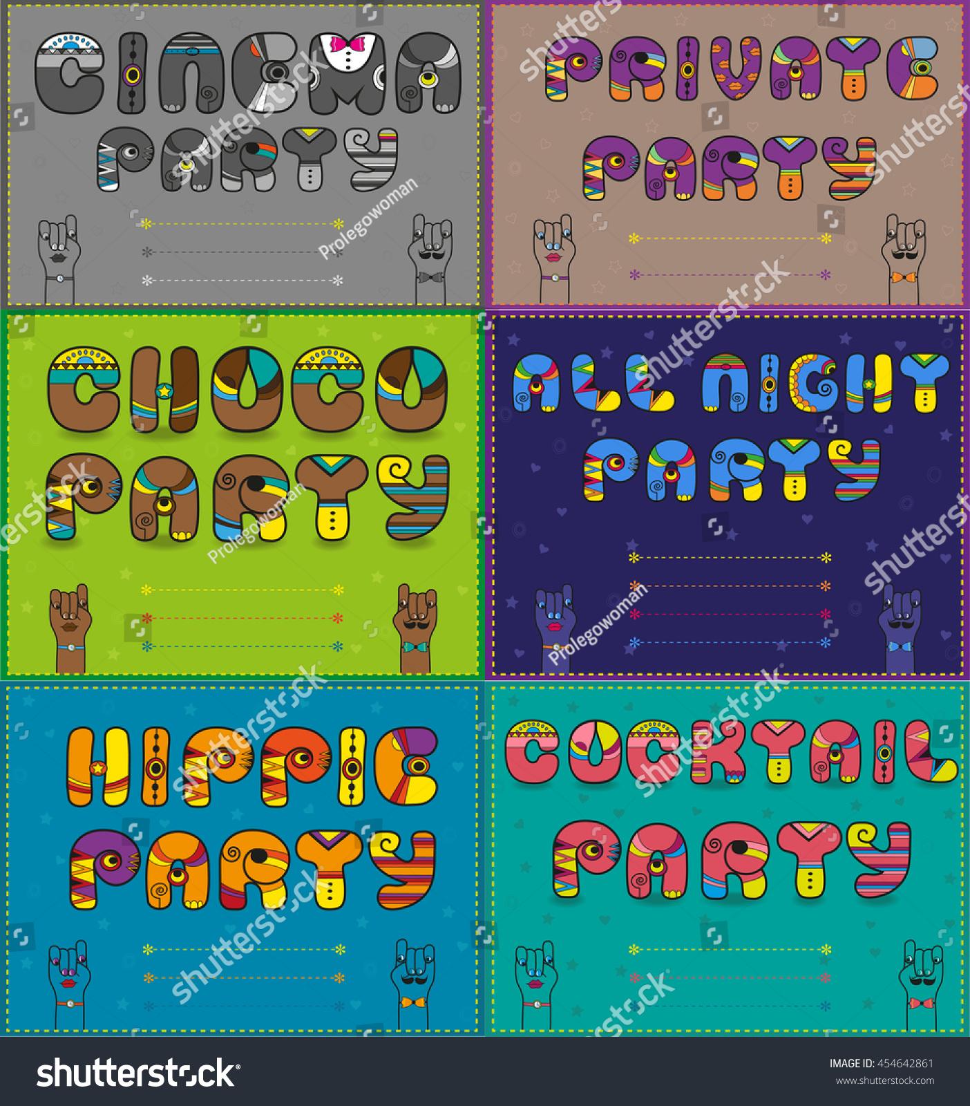 Invitations Party Vintage Artistic Font Six Stock Vector 454642861 ...