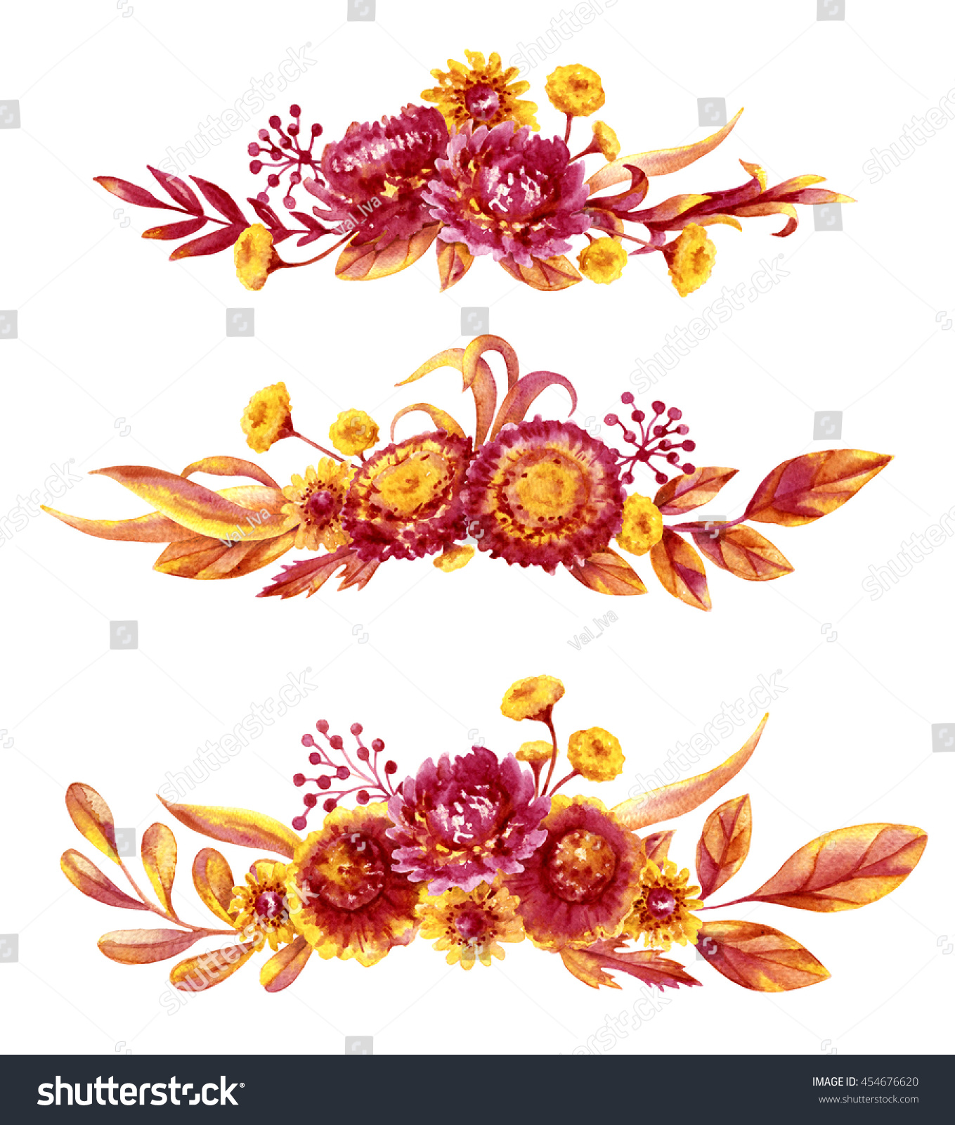 Hand Drawn Watercolor Autumn Flowers Bouquets Stock Illustration ...