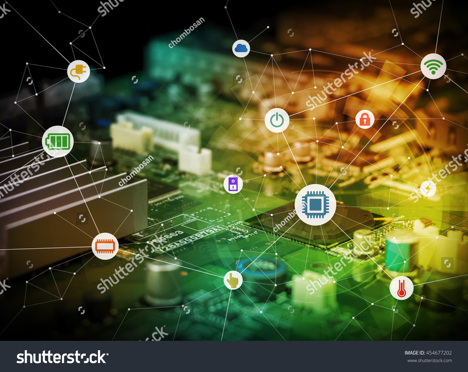 Wired Icons Various Electric Component Function Stock Photo Edit Circuit Game Of Or And Background Board Abstract
