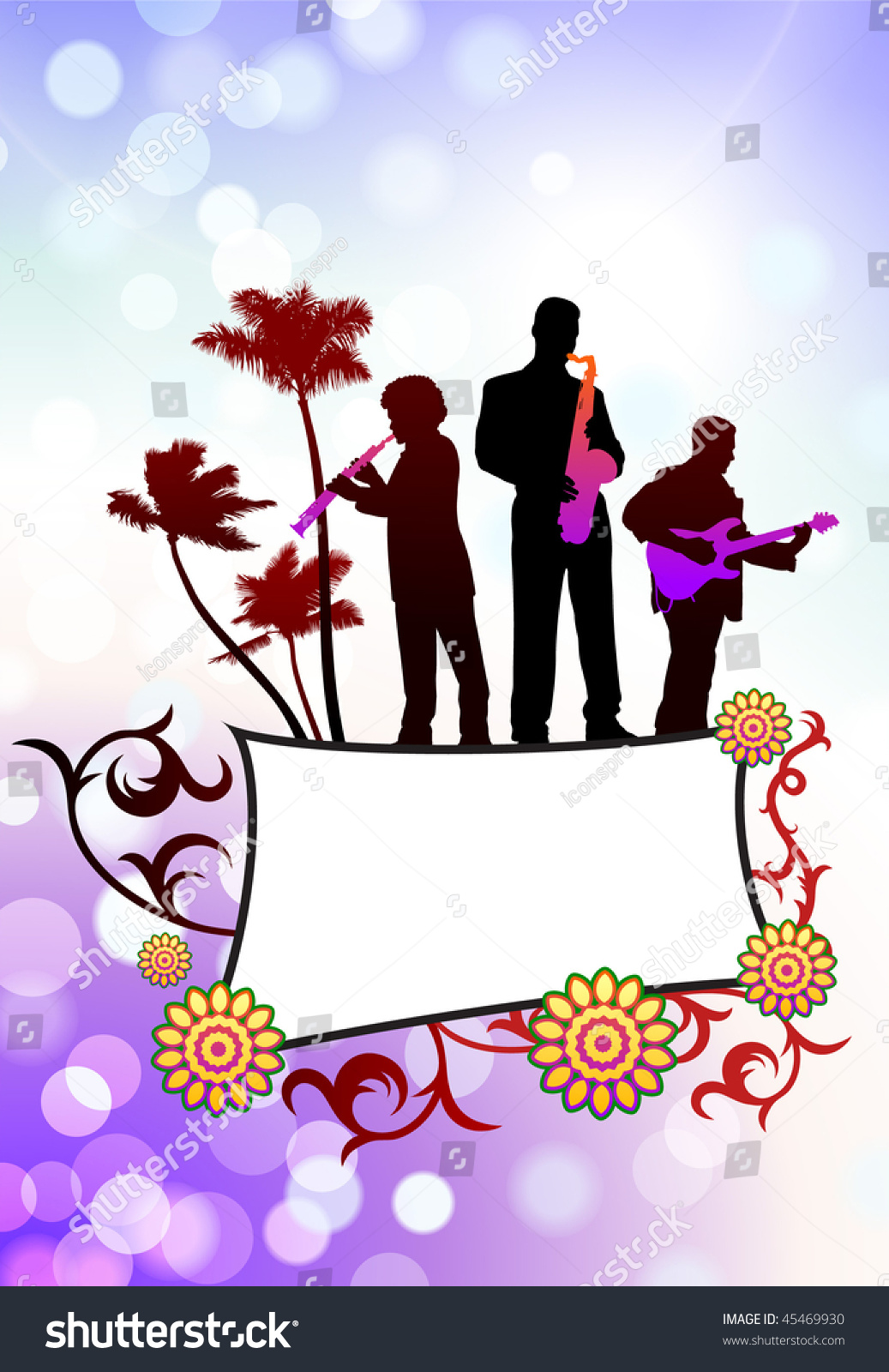 Live Music Band On Tropical Frame Stock Vector (Royalty Free ...