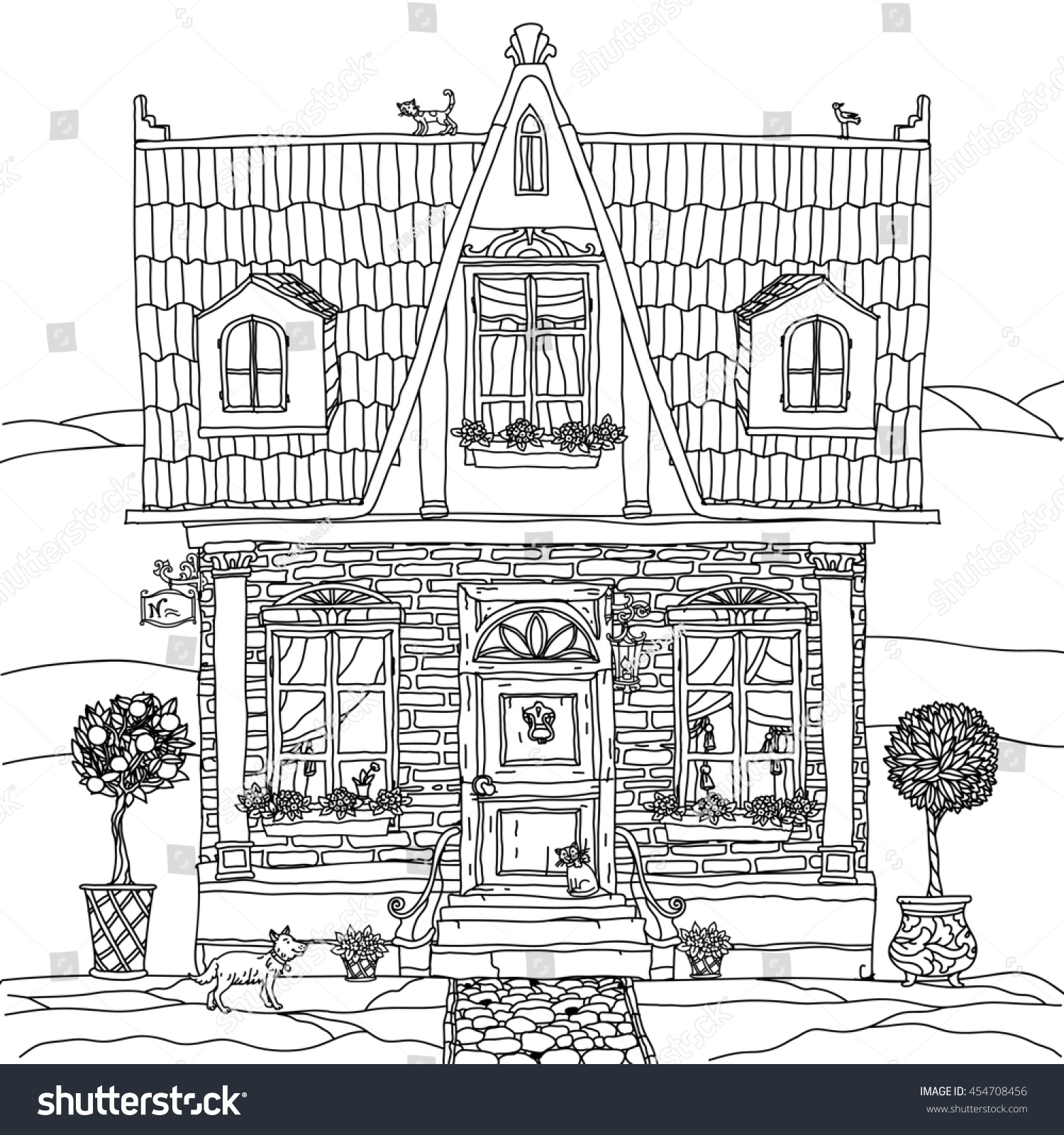 The coloring book poster - Frontage Of A House With Flowers Plants Cat And Dog For Adult Coloring Book